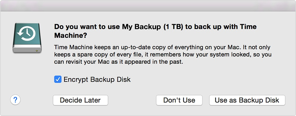 choosing the backup device as Time Machine backup – automatic recognition