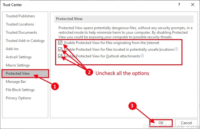 trust center settings protected view options
