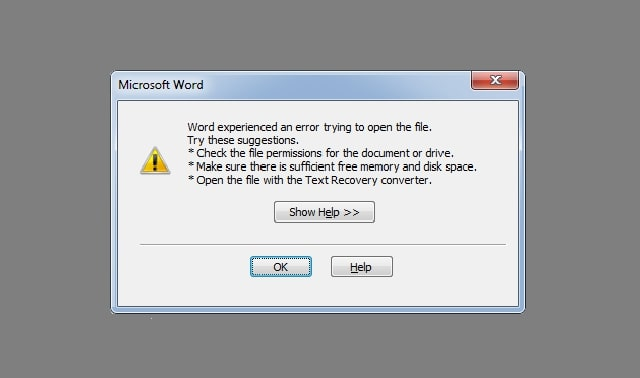 word experienced an error trying to open the file