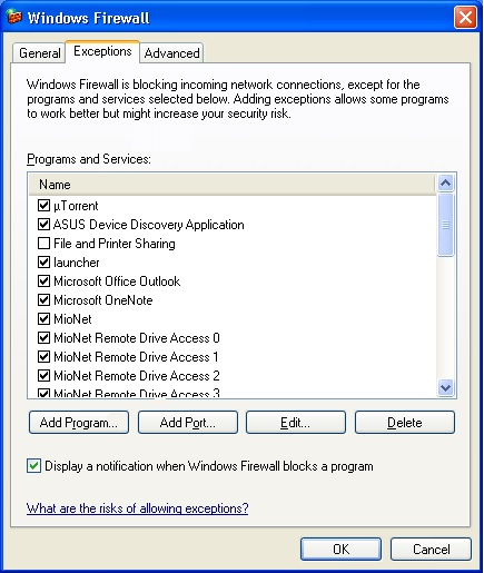 add outlook to exceptions