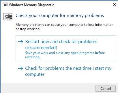 checking errors in windows memory