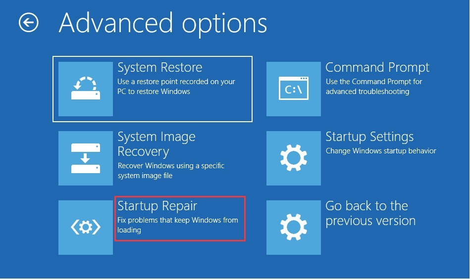 click on startup repair