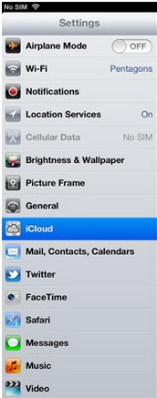 click settings to open iCloud