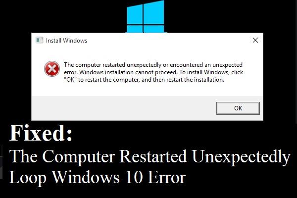 computer started unexpectedly windows 10 error 1