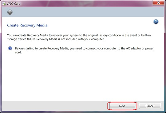 create vaio recovery disk 11