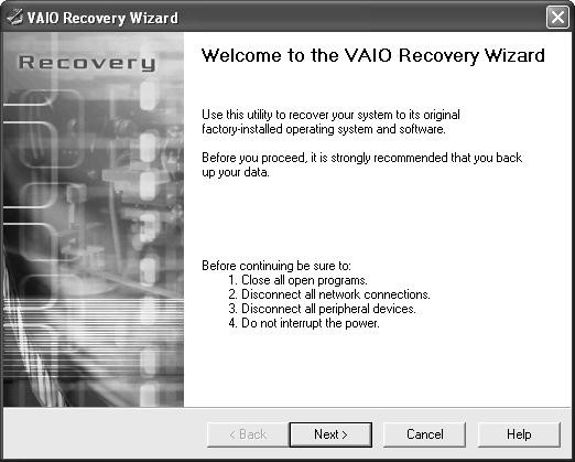 create vaio recovery disk 2