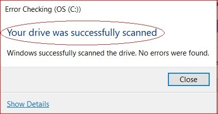 click scan drive in error checking tool