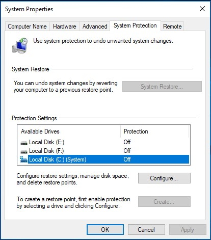 enable system restore 2