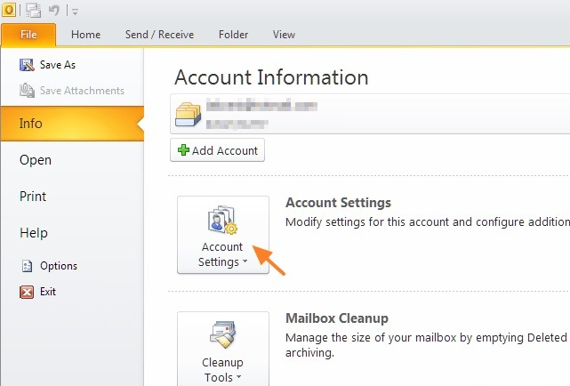 open account settings