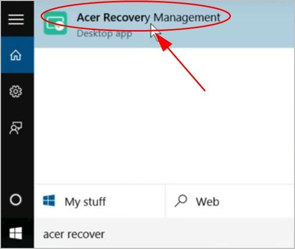 reset in acer care center 1