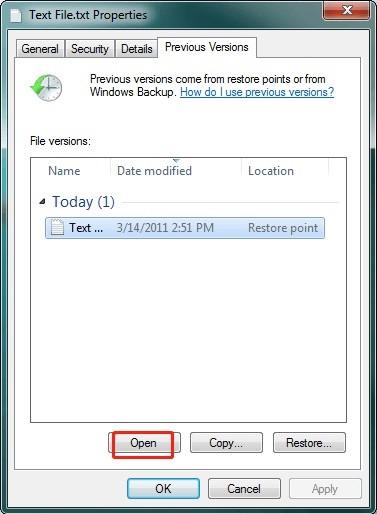 restore previous version windows 7 6