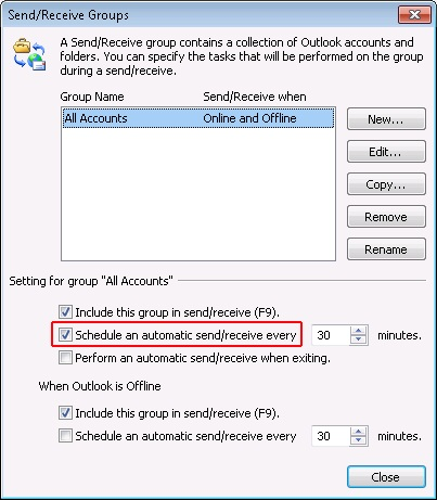 schedule automatic send receive option highlighted