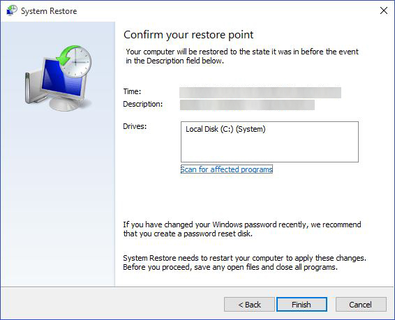 system restore 4
