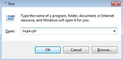 type ncpa.cpl in run dialog box