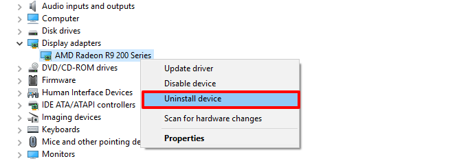 uninstall drivers