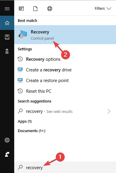 use windows 10 recovery drive 1