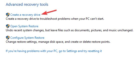use windows 10 recovery drive 2