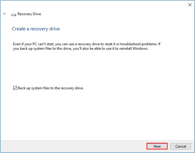 use windows 10 recovery drive 3