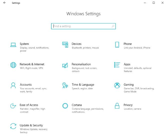 window 10 settings
