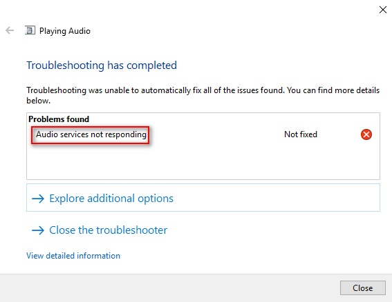 Audio Services Error Message