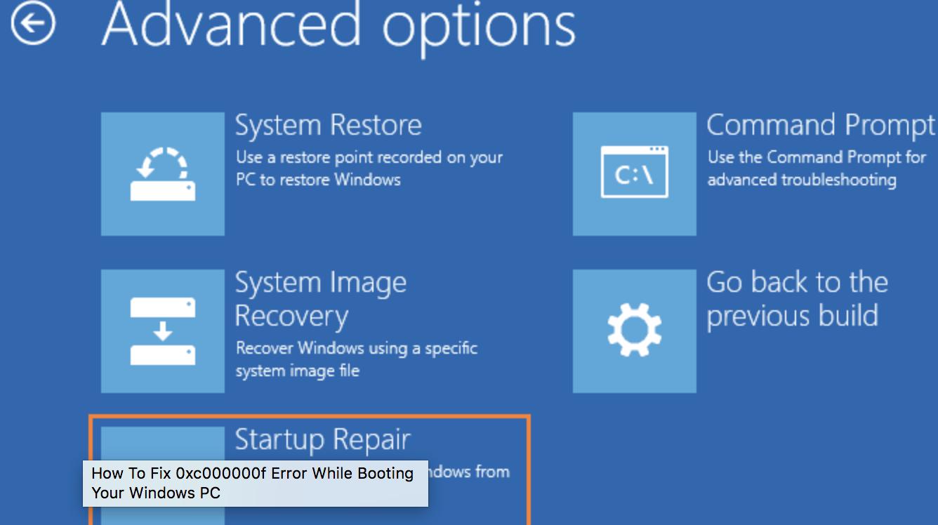 bootmgr start up repair