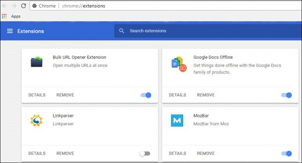 Chrome Remove Extensions