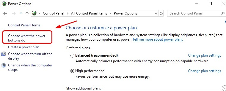 click on choose what the power buttons do
