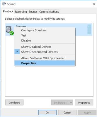 Configure Speakers Settings