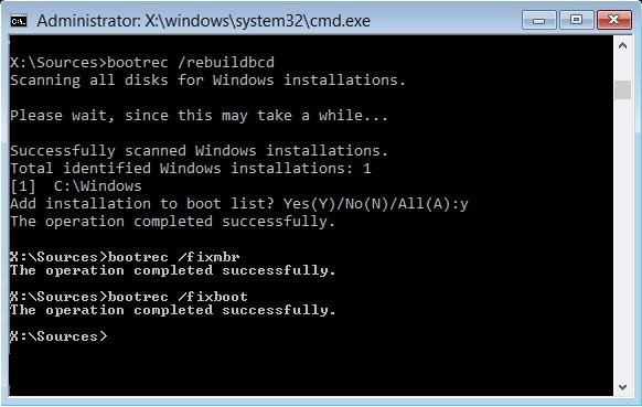 Fix 0x000000ed error with bootrec /rebuildbcd Command Prompt Method.