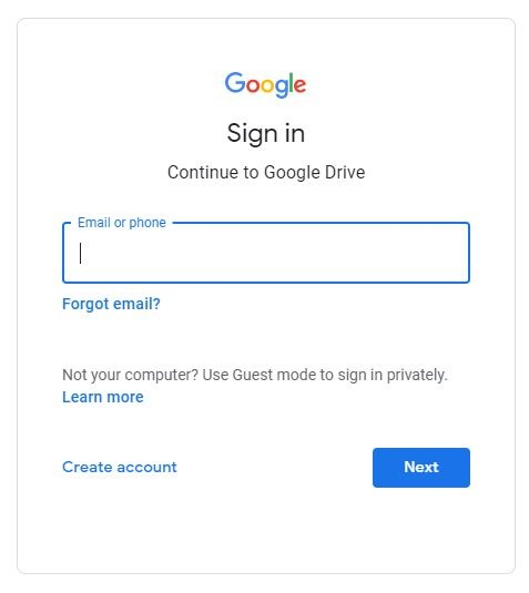 login-into-google-drive