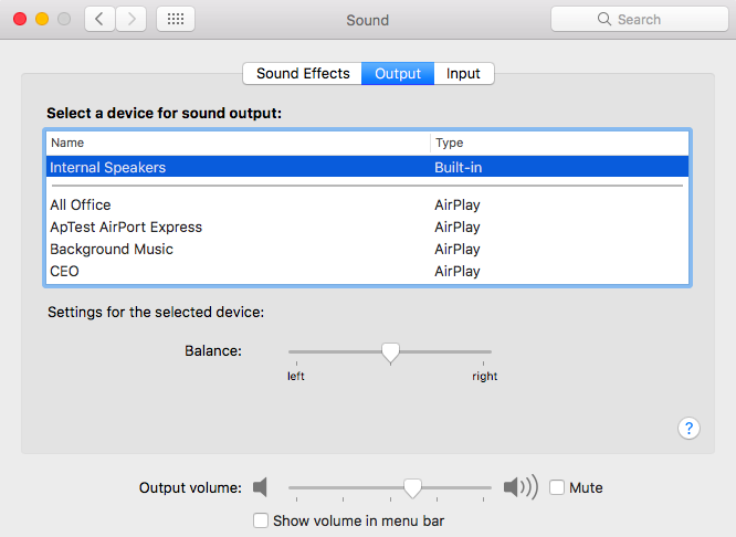 MacBook Sound Output Settings