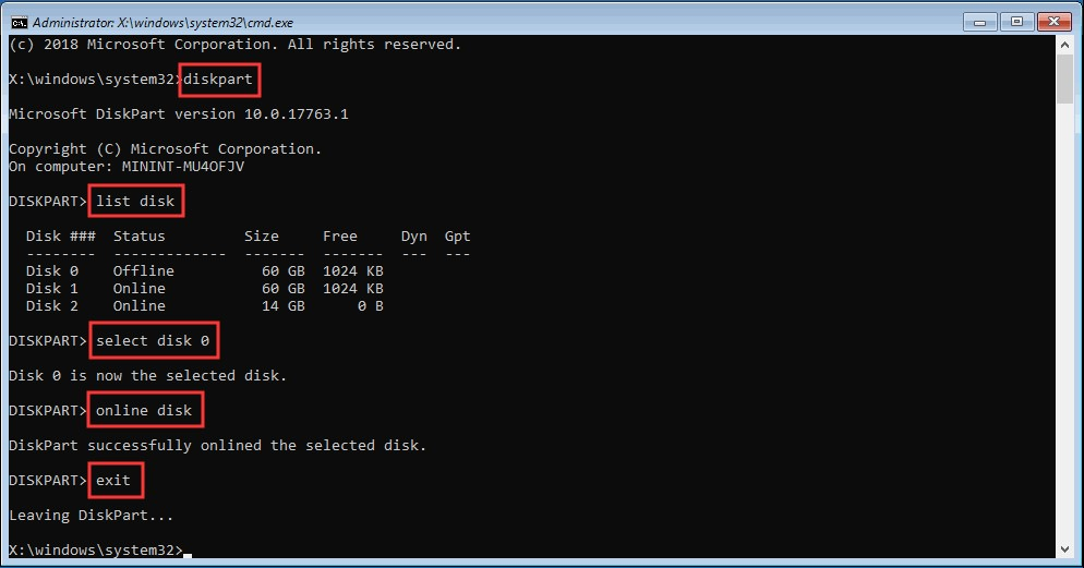 mark boot disk as online 1