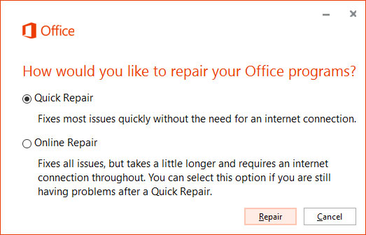 Start Office Quick Repair