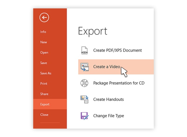 opening the Export option window