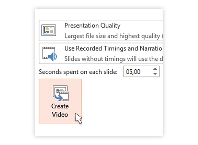 Selecting create video option