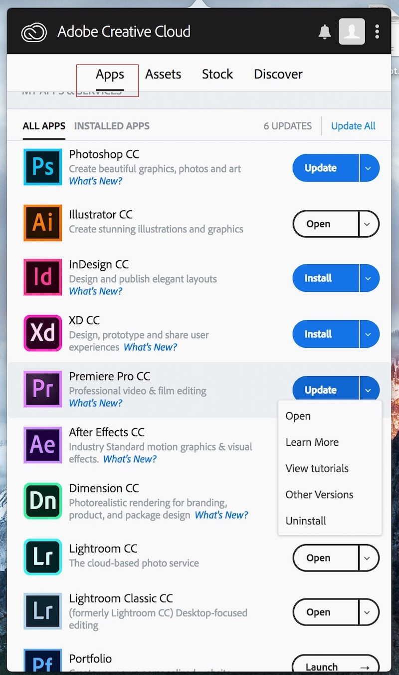 click apps on photoshop menu