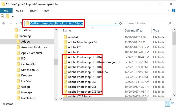 open adobe photoshop setting directory