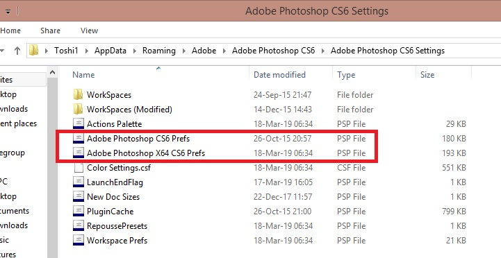 pick and place photoshop preference file to desktop