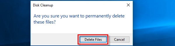 Confirming to delete the Cache files