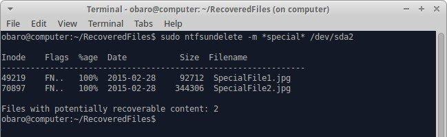recover files through ntfsundelete 1