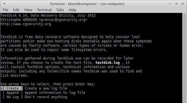 recover files using testdisk 1