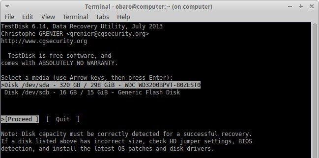 recover files using testdisk 2