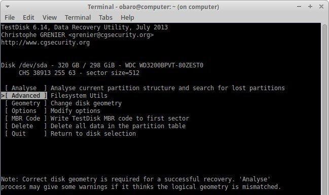 recover files using testdisk 4