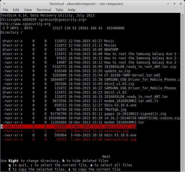 recover files using testdisk 6