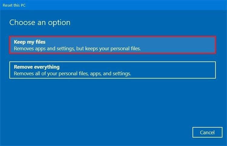 reset windows 2