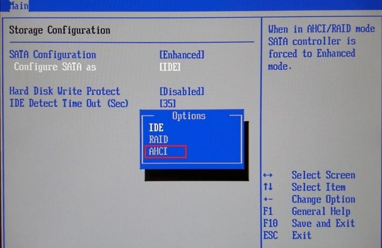 Set SATA configuration to AHCI Mode in BIOS Setup.