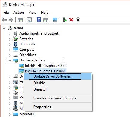 update drivers via device manager 2