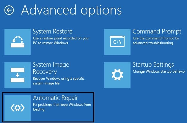 Click on Automatic Repair in the Advanced Options.