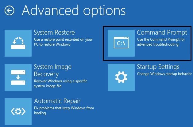 Click on Command Prompt in the Advanced Options.