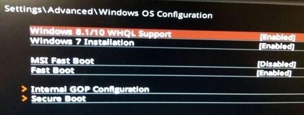 windows whql support in bios 1